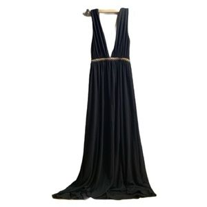 Zara Trafaluc Maxi dress Deep V with Ribbon - S